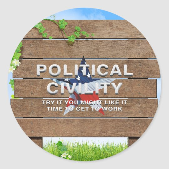 TEE Political Civility Classic Round Sticker