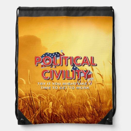 TEE Political Civility Drawstring Backpack