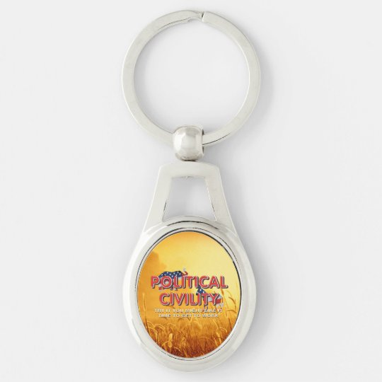 TEE Political Civility Silver-Colored Oval Keychain