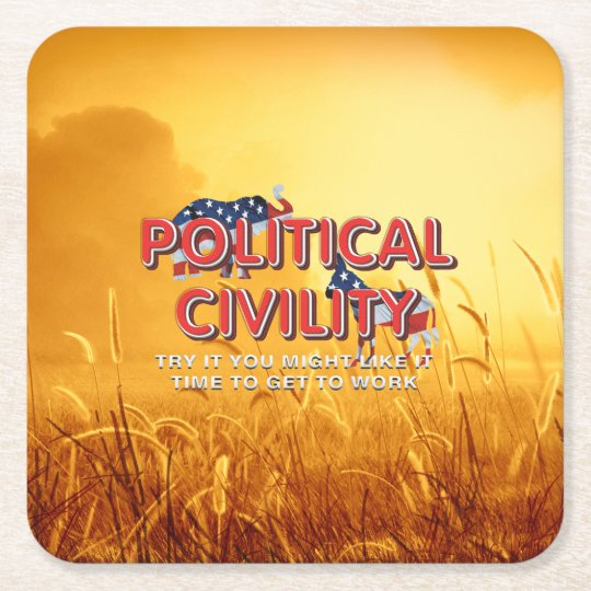 TEE Political Civility Square Paper Coaster