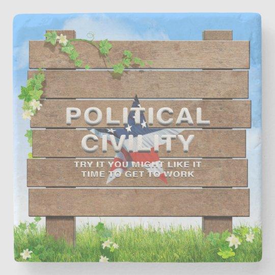 TEE Political Civility Stone Coaster