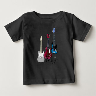"Tee-shirt black baby ""Guitars and Music "" Baby T-Shirt"