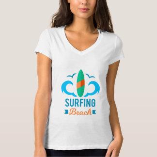 Tee Shirt Femme Blanc Col V Surf T-shirt