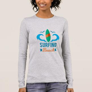 Tee shirt Femme Blanc Manches Longues Surf T-shirt À Manches Longues