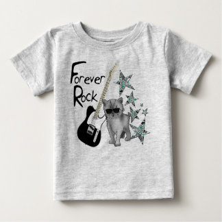 """Tee-shirt gray baby """"Forever rock'n'roll"""", cat, Baby T-Shirt"""