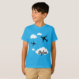 Tee-shirt Hanes TAGLESS® Planes with First name T-Shirt
