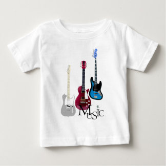"""Tee-shirt white baby """"Guitars and Music """" Baby T-Shirt"""