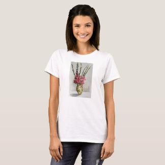 Tee shirt with gladiolas watercolor