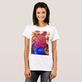 Tee shirt with orange zinnias