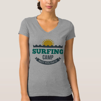 Tee-shirt Woman White Collar V Surfing T-Shirt