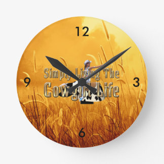 TEE Simply Living Cowgirl Life Round Clock