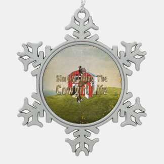 TEE Simply Living Cowgirl Life Snowflake Pewter Christmas Ornament