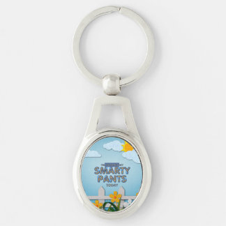 TEE Smarty Pants Silver-Colored Oval Keychain
