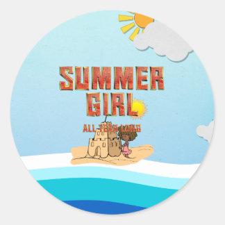 TEE Summer Girl Classic Round Sticker