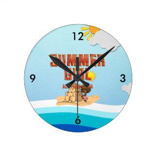 TEE Summer Girl Round Clock