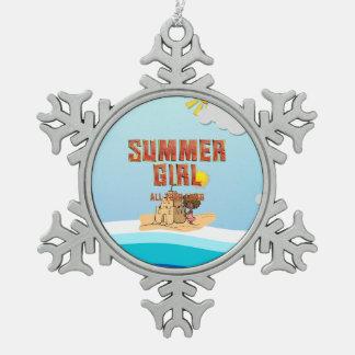 TEE Summer Girl Snowflake Pewter Christmas Ornament