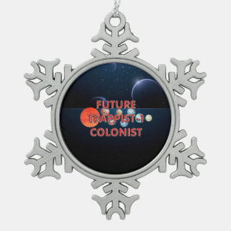 TEE Trappist-1 Colonist Snowflake Pewter Christmas Ornament