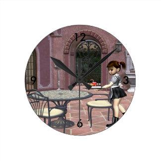 TEE Waitress With Attitude Round Clock