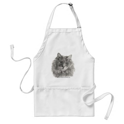 TeeGee, Long-Haired Gray Cat Aprons