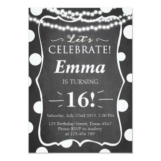 Teen black and white polka dot birthday invitation
