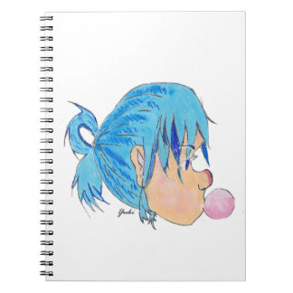 Teen blowing a bubble with gum spiral notebooks