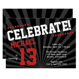Teen Boy Birthday Invitation-Any Year, Red Card