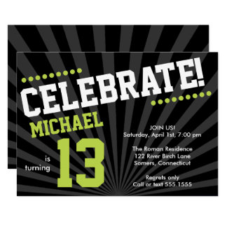 Teen Boy Birthday Invitation, Lime Green and Black Card