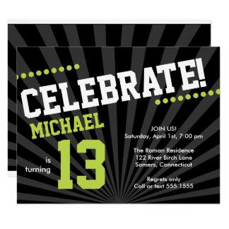 Teen Boy Birthday Invitation, Lime Green and Black Card