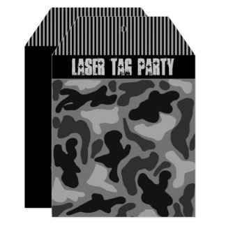 Teen Boy's Black Camo Laser Tag Party Invitation