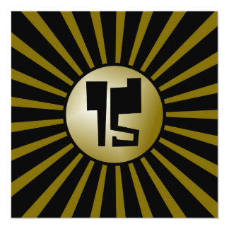 """Teen Boys Gold and Black Birthday Party Card 5.25"""" Square Invitation Card"""