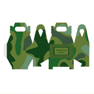 Teen Boys Green Camo Party Gift Box