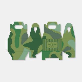 Teen Boys Green Camo Party Gift Box Favor Boxes