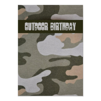 Teen Boys Outdoor Camo Birthday Party 5x7 Paper Invitation Card