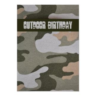 "Teen Boys Outdoor Camo Birthday Party 5"" X 7"" Invitation Card"