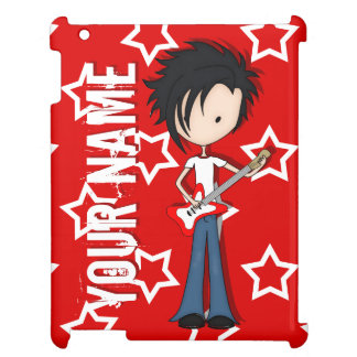 Teen Emo Boy Rock Guitarist with Black Hair Case For The iPad 2 3 4