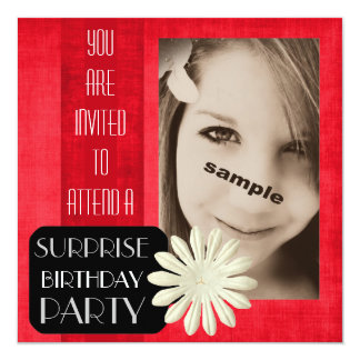 Teen Girl Surprise Birthday Party! Hot PINK flower 5.25x5.25 Square Paper Invitation Card