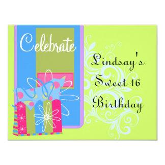 "Teen Girls Birthday Party 4.25"" X 5.5"" Invitation Card"
