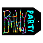 Teen Girl's Funky Black Birthday Party Invitations