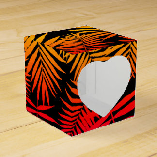 Teen Girls Palm Tree Leaf Orange Pink Sunset Party Favor Box
