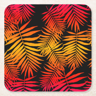 Teen Girls Palm Tree Leaf Orange Pink Sunset Square Paper Coaster