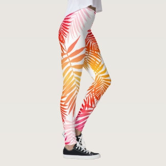 Teen Girls Palm Tree Leaf Trendy Summer Fashion Leggings