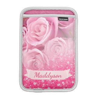 Teen Girls Personalized Sparkly Glitter Rose iPad Mini Sleeve