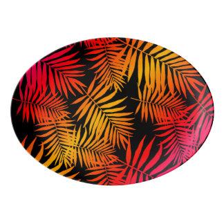 Teen Girls Women's Decor Tropical Palm Tree Leaf Porcelain Serving Platter