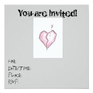 Teen Heart Skull Invitations Birthday/ any occas