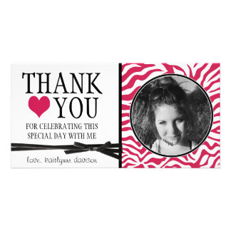 Teen Hot Pink Zebra Thank You with Photo Photo Card Template