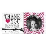 Teen Hot Pink Zebra Thank You with Photo Custom Photo Card