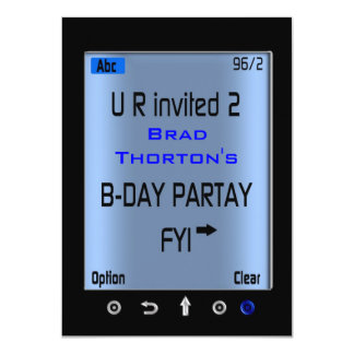 Teen Smart Phone Texting Birthday Party Invitation