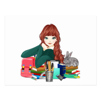 Teen Student Schoolgirl supplies back to school Postcard