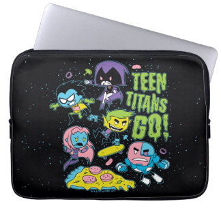 Teen Titans Go!   Gnarly 90's Pizza Graphic Laptop Sleeve