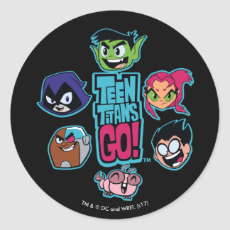 Teen Titans Go! | Titans Head Pattern Classic Round Sticker